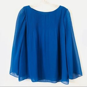 Max Studio | Solid Blue Pleated Blouse Size S